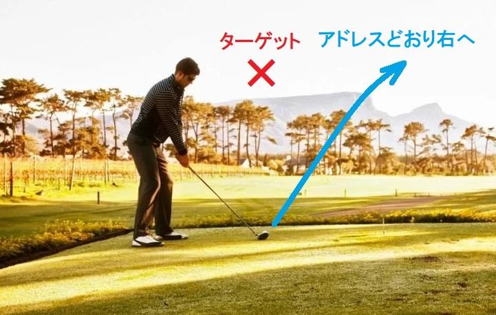 「どうもプッシュアウトが多い」と言って、悩んでいるゴルファーのほとんどが右を向いてます
