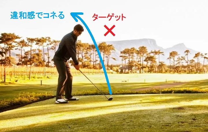 アドレススタンスが右方向を向いて、スイングで左方向に打球を打つと結果的に「クローズスタンス」になります。